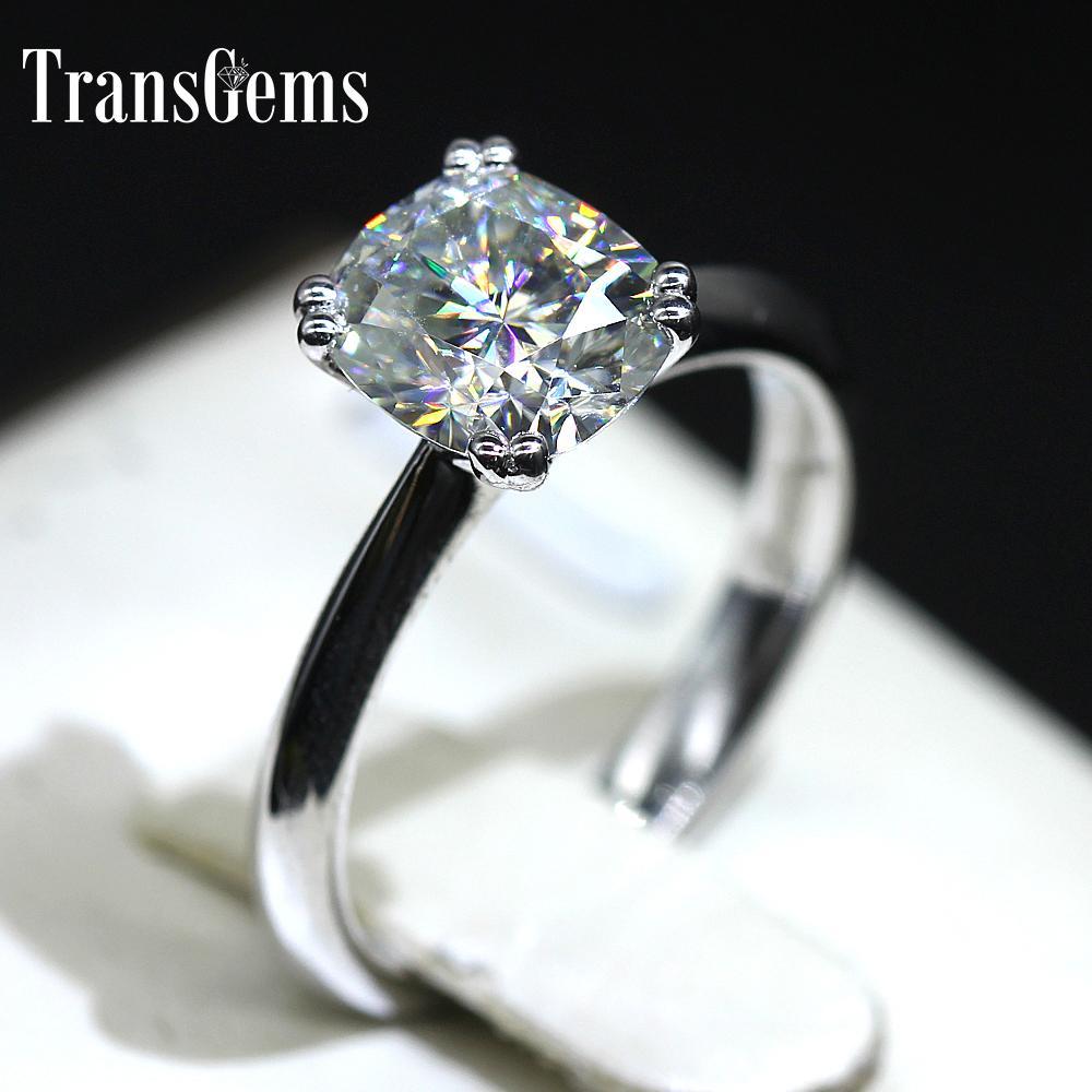 Transgems 18k 750 белого золота 2ct 7мм * 8 мм F Цвет Подушка Cut Муассанит обручальное кольцо для женщин Solitare с акцентами S200117