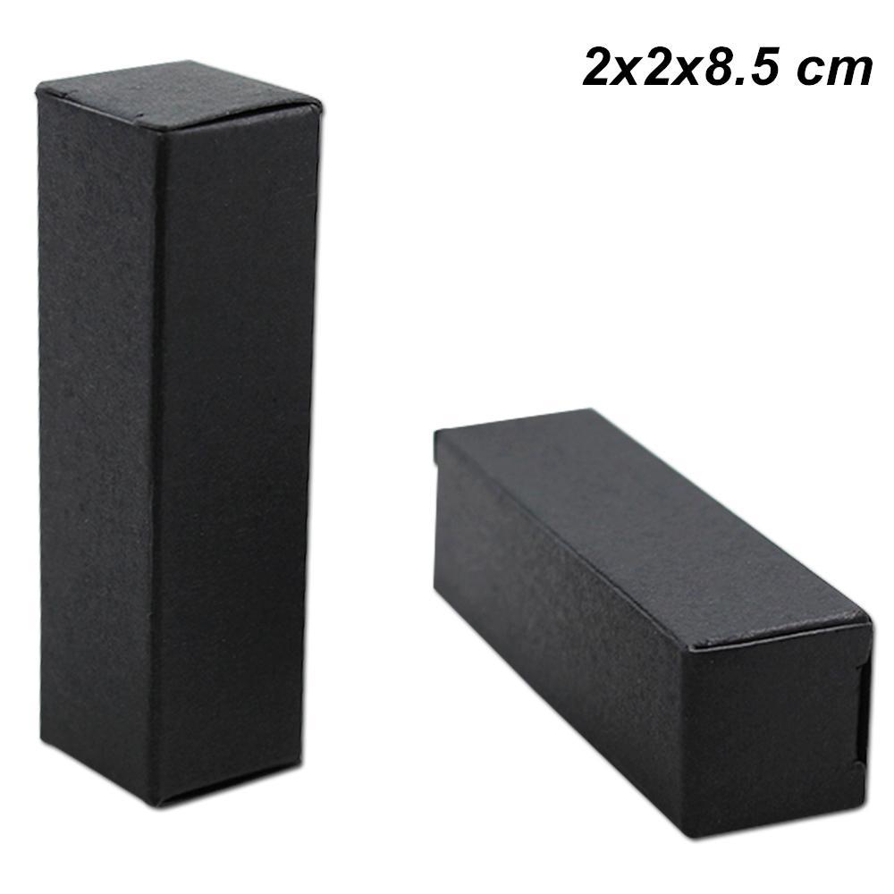 100 pcs preto 2x2x8.5cm kraft papel batom frasco de perfume caixa de embalagem de papel kraft paper encaixe diy presentes festa artesanal caixa de armazenamento de papelão