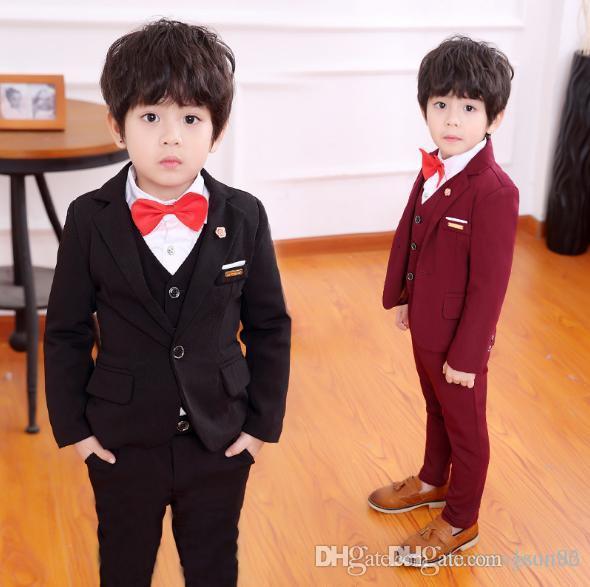 Sıcak satış Çocuk giyim ilkbahar ve sonbahar bir çocuğun takım elbise Kore versiyonu çocuk yeni yıl takım elbise üç parçalı ...