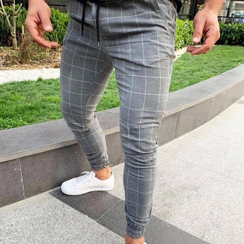 2020 atractivo Wasit alta de primavera y verano bolsillo de la manera de los hombres adelgazan la tela escocesa de pierna recta pantalones casuales pantalones casuales lápiz del basculador