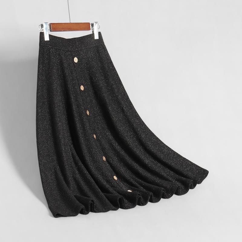 Sherhure 2019 High Waist Knitted Women Winter A-Line Long Skirt Chic Women Autumn Skirt Faldas Jupe Femme Saia