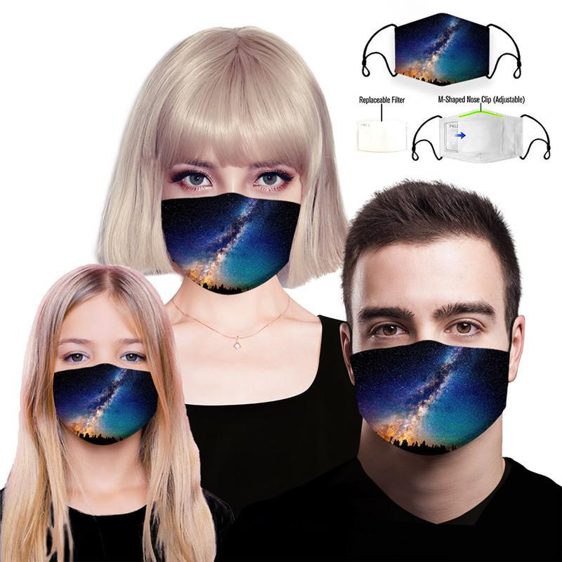 Designer Masken Wiederverwendbare Schutz PM2.5 Filter Druck Mundmaske Anti-Staub-Gesichtsmaske Winddichtes Mundmuffel 84 Arten DAMON026