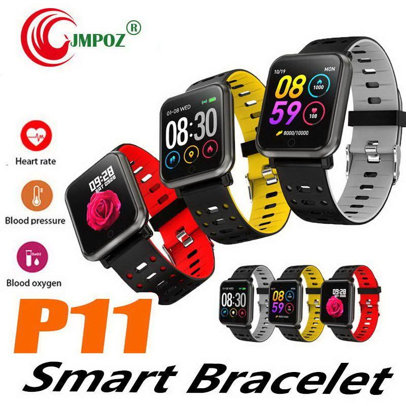 P11 Color Screen Smart Bracelet Fitness Tracker Heart Rate Blood Pressure Blood Oxygen Step Sleep Detection Sports Wristband
