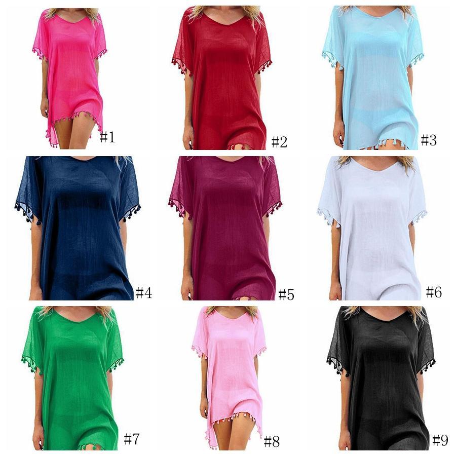 Püsküller Topu Pareo Beachwear şifon Sarong Mayo Elbise Kadınlar Bikini Kapak Yaka Elbise GGA3377-2 ile 22styles Yaz Plaj Elbise