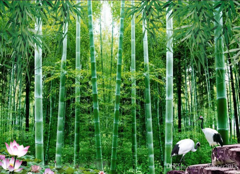 Modern Home Decoration Blackout 3D wallpaper Bambú loto fondo pared