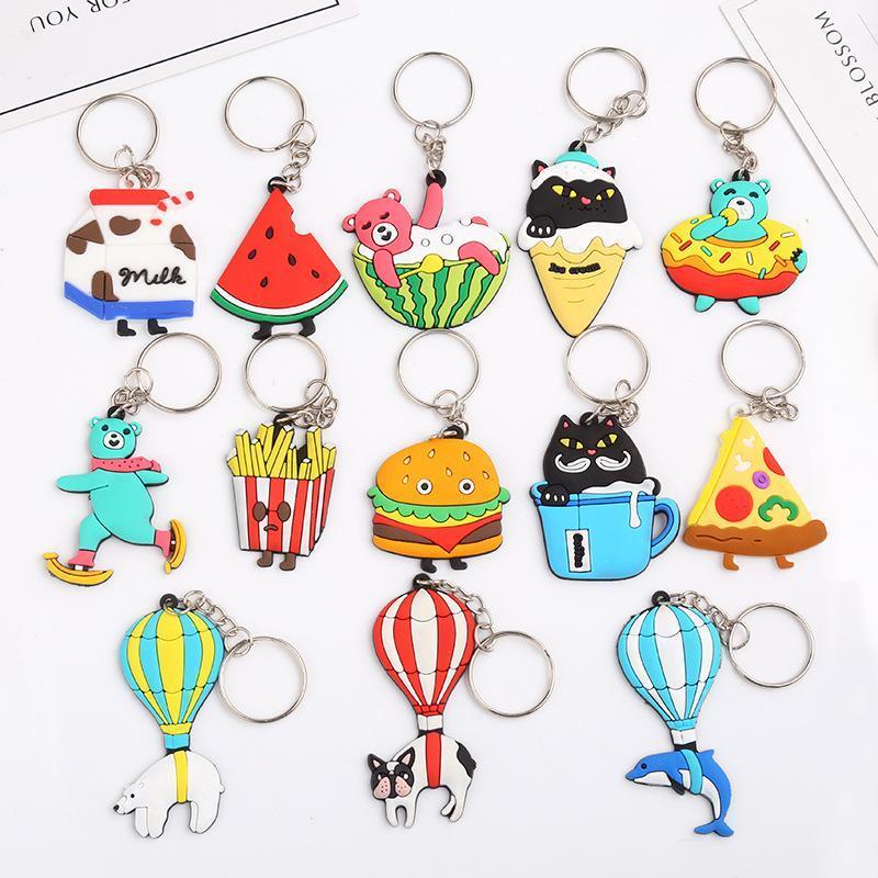 50pcs / Lot Cartoon Pvc Dolphin Hamburger Animal Key Chief Ring Women Bag Pendant Keychain Key Holder Fashion Charms Trinket