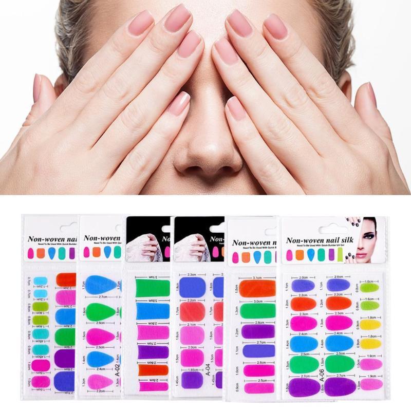 2pcs / set Nail fibra di taglio del vetro di estensione pezzo Nail Sticker eccellente e durevole allungato Fiber Art Block manicure