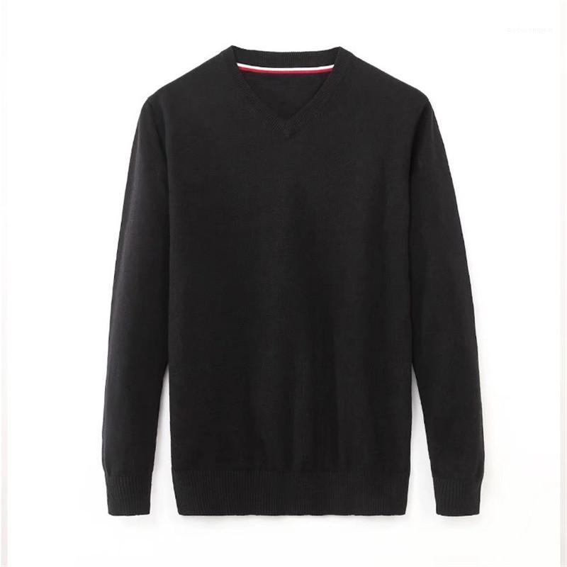 V-Ausschnitt Herren Pullover Casual Langarm Männchen Kleidung Feste Farbe Herren Designer Pullover Mode Loose Pullover
