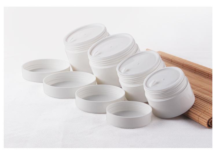 300pcs / lot 100g 100ml PP blanco crema para la cara frascos con superficie lisa brillante, plástico envase cosmético vacío