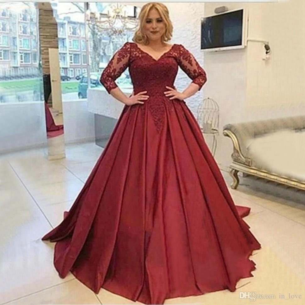 Burgundy Dark Red Prom Dresses Plus Size 3/4 Sleeves Long Lace A Line  Formal Occasion Evening Party Gowns Customize Occasion Wear Online Dress  From ...
