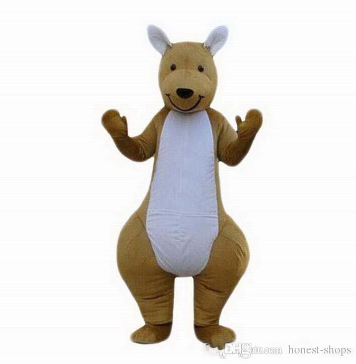 2019NUEVO Traje de mascota de canguro marrón personalizado profesional de dibujos animados con carácter animal Ropa Fiesta de Halloween Vestido de fiesta