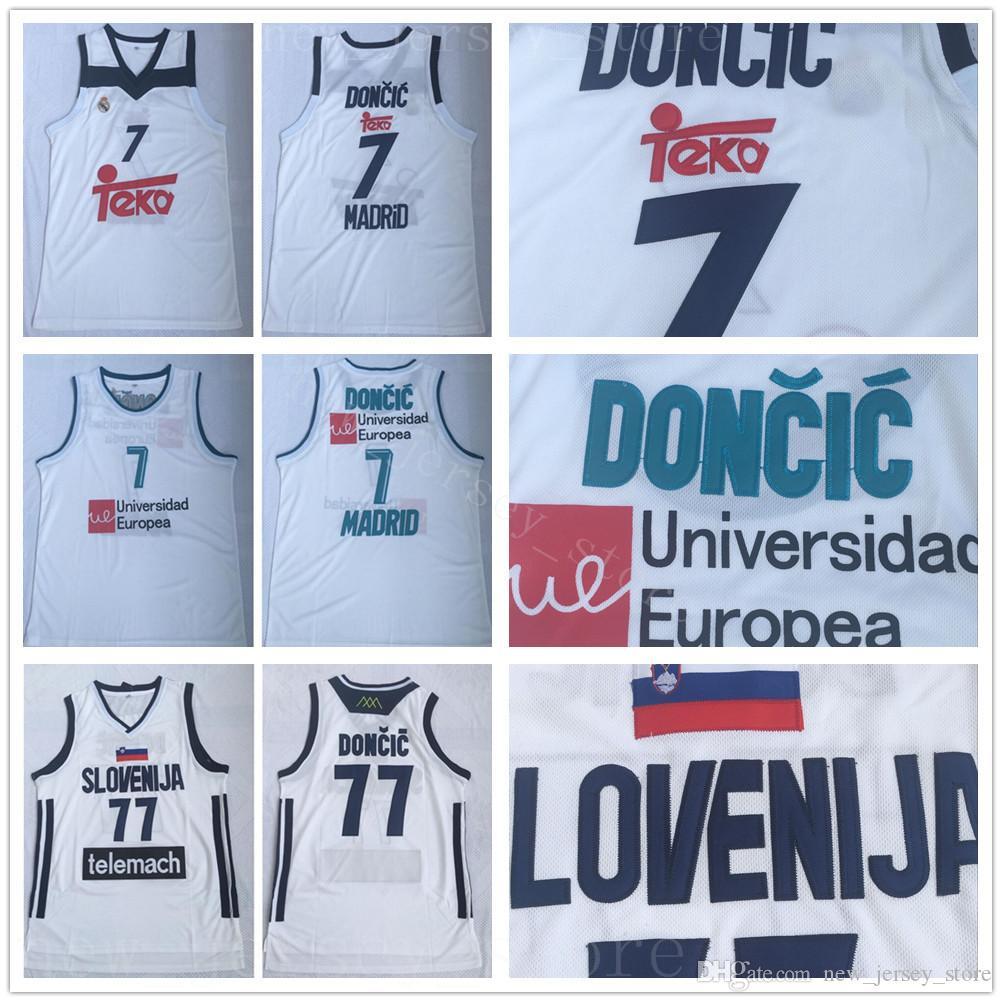 Real Madrid Luka Doncic Jerseys 77 Basquete Uniforme 7 Team Club MVP Euroleague Espanha Europa Eslovenija Top Quality Homens Costurado Branco