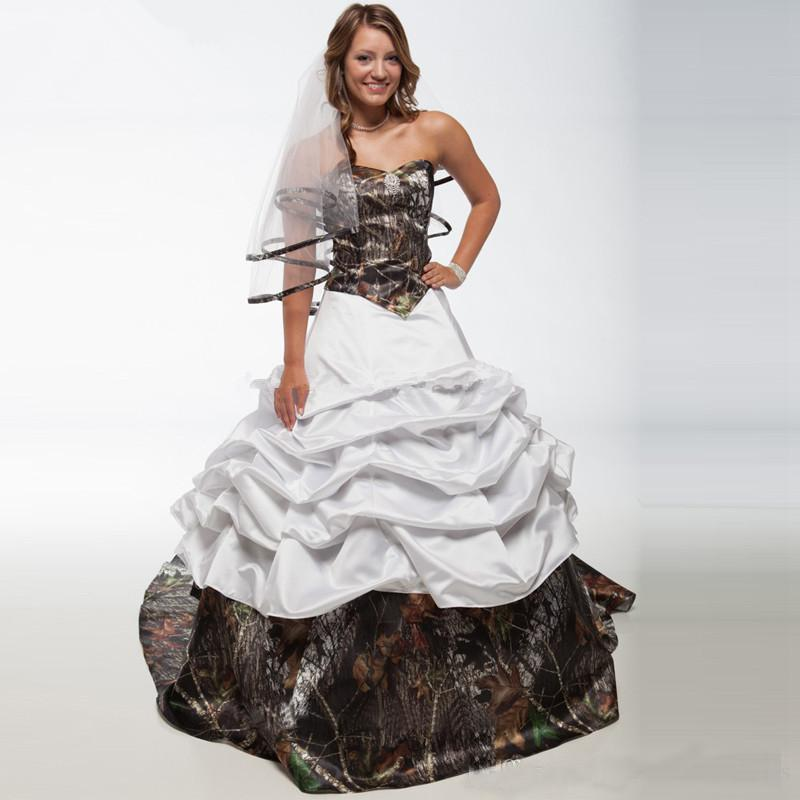 Elegant White Camo Wedding Dresses 2020 A Line Satin Camoflage Plus Size Wedding Bridal Gowns Custom Party Dress