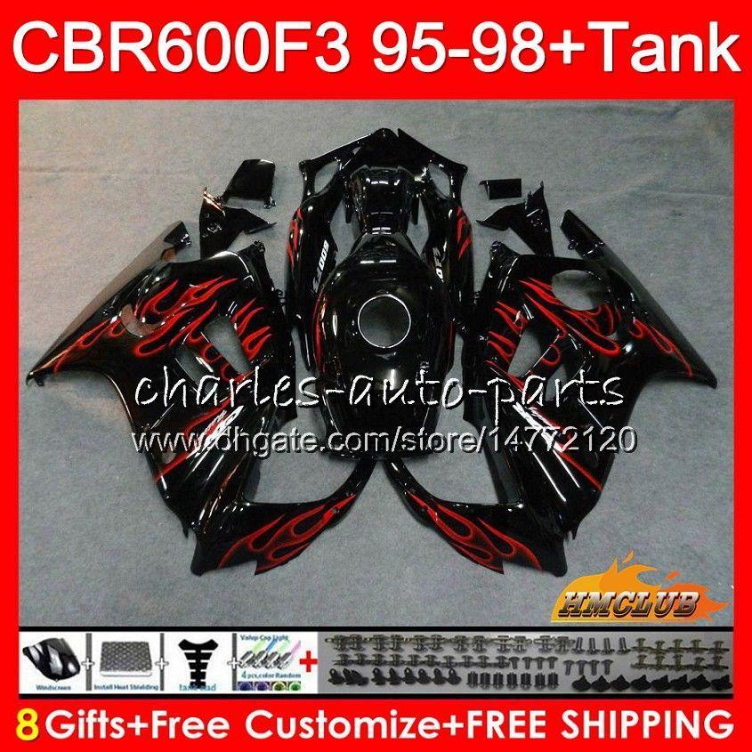 Body + Serbatoio per Honda CBR 600F3 600cc CBR600 fiamme rosse F3 95 96 97 98 41HC.44 CBR 600 FS F3 CBR600FS CBR600F3 1995 1996 1997 1998 carenatura