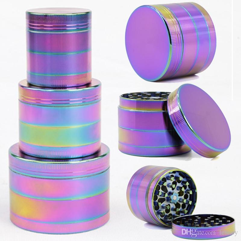 Hot Hale Grinder Zinc Alloy Material Cheap Herb Grinders Colorful Rainbow 4 Layers Grinder Herb Crusher For Smoking Tobacco 5915IB-5918IB