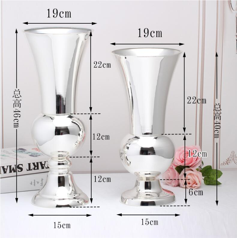 slver plattierten Platte Metall dekorative Vase für Häuser Große Bodenvase für Blumendekoration Metall Vase Hochzeit HP032