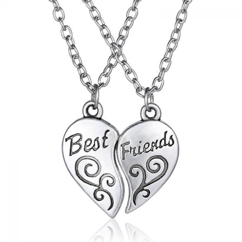 1 Takım Kalp Kolye Kolye Kadın Kızlar Için En Iyi Arkadaşı Mektup Kolye Mücevherat En Iyi Hediye Arkadaş Alfabe Takı