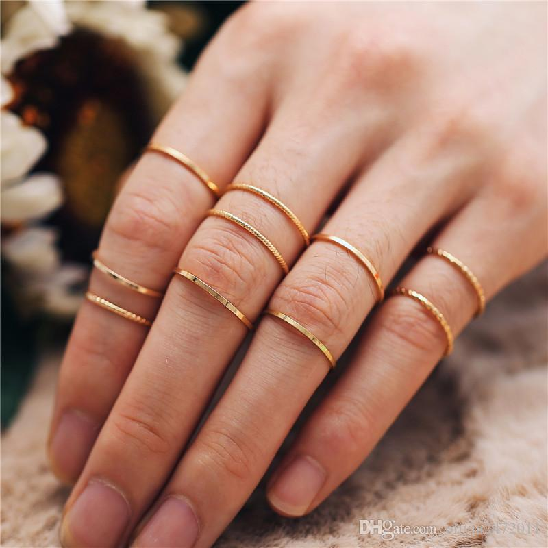 10PCS//SET Simple Above Knuckle Golden Ring Band Girls Women Fashion Jewelry Gift