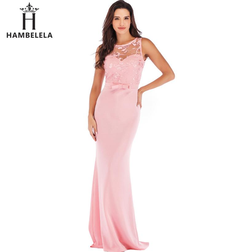 HAMBELELA Elegant Formal Bridesmaid Party Dresses Long Top Bodies Lace Bow Bridesmaids Long Maxi Dress Women Wedding Party Gowns