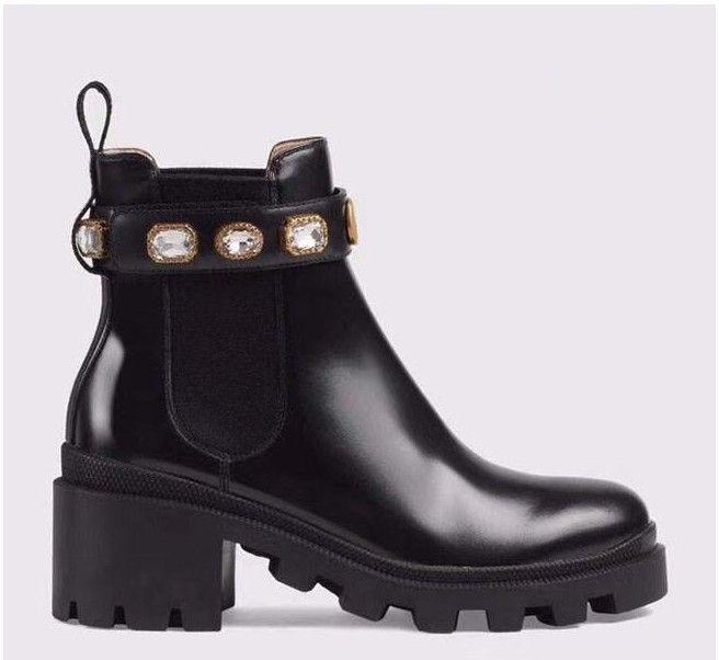 Gucci    Chaussures en cuir de haute qualité pour femmes Lace up Ribbon boucle de ceinture bottines usine directe femelle talon rugueux tête ronde automne hiver mars N02