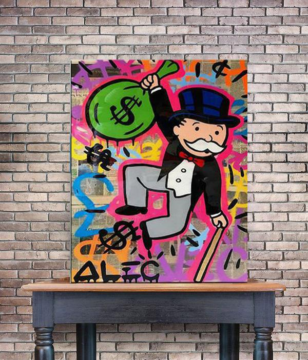 """Alec Monopoly """"Monopoly holding Money bag"""" Home Decor Handcrafts /HD Print Oil Painting On Canvas Wall Art Canvas Pictures 200518"""