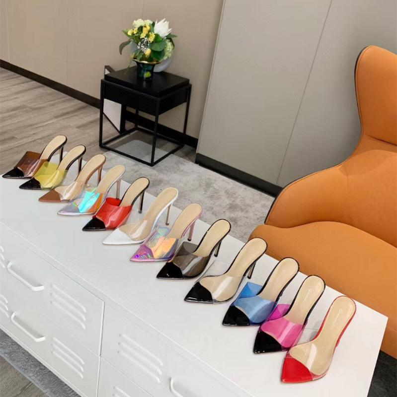 2020 summer splice pointed stilettos sexy transparent shallow mouth single shoe cool slipper