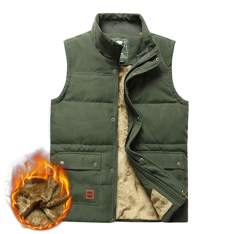 Erkek Kış Kolsuz Ceket Fleece Kalın Sıcak Yelek Erkek Casual Dış Giyim Gilet Homme Yelek Artı boyutu 5XL Çoklu Birçok Cep