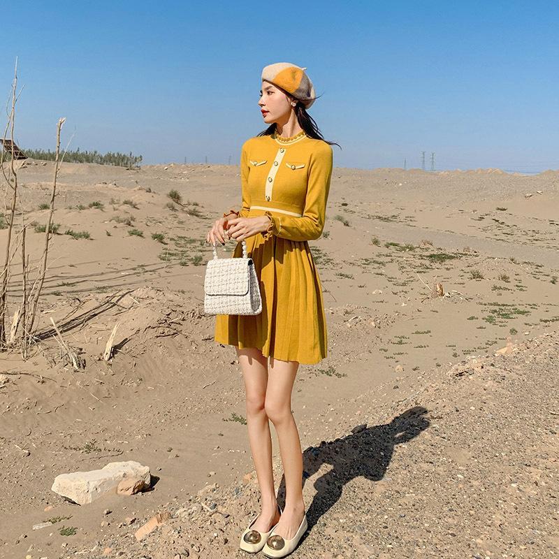 Pequenas perfumadas versão vestido coreano mulheres outono 2019 novo substituto cabelo uma das mulheres de cintura alta manga longa Aline saia 2252
