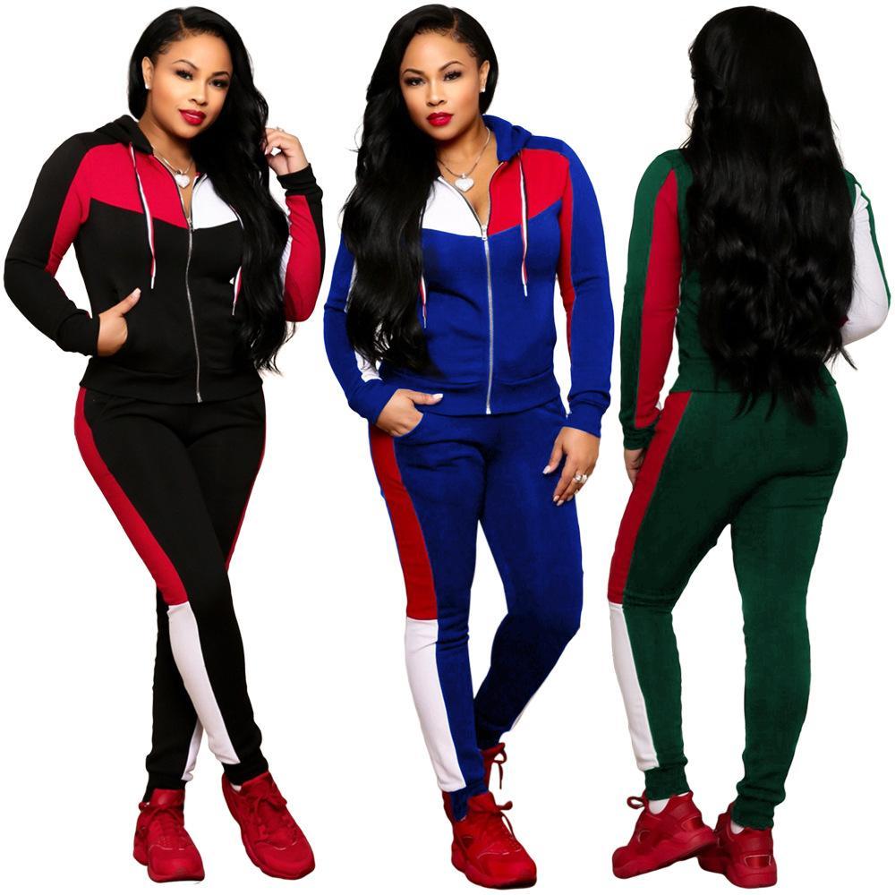 Ladies women 2 Piece Joggers Set Hooded Cropped Sweatshirt Tracksuit set