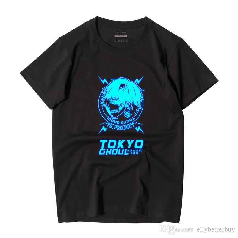 Casual Erkekler T-Shirt Japon Anime Tokyo Ghoul Pamuk Tees Tops Yeni Moda Kısa Kollu Yuvarlak Boyun Polos Yüksek Kalite Streetwear