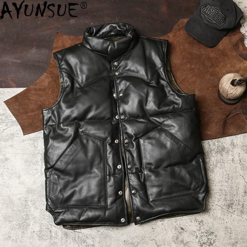 AYUNSUE en cuir véritable d'homme Veste d'hiver vraie vache manteau en cuir Gilet sans manches Gilet Hommes 2020 G-KLX KJ4974