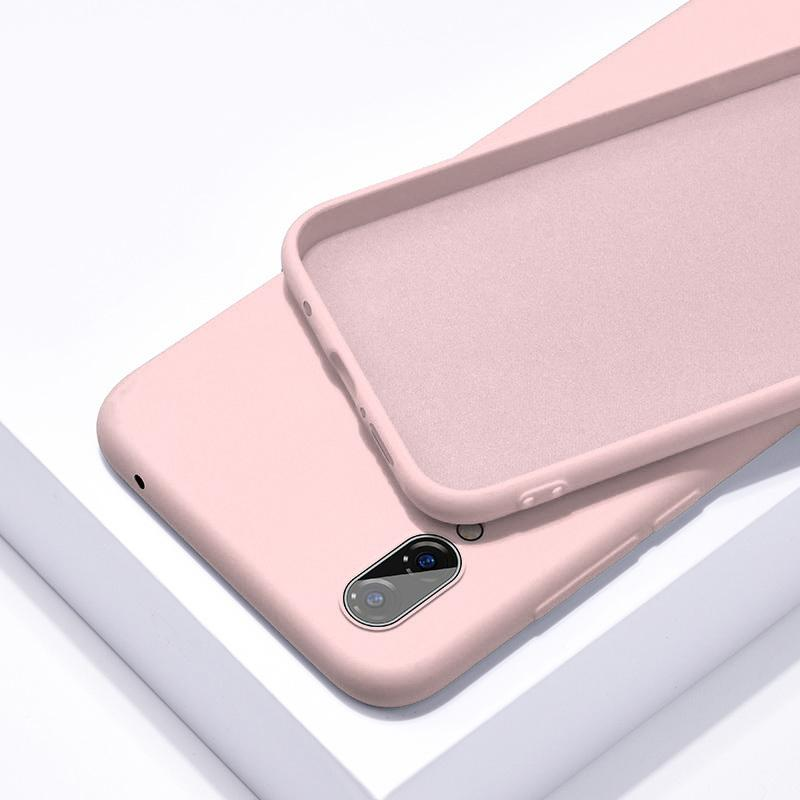 IPhone 11 Pro X Huawei P20 P30 Pro mobile phone thin soft shell suitable for Apple Huawei solid color original liquid silicone sleeve