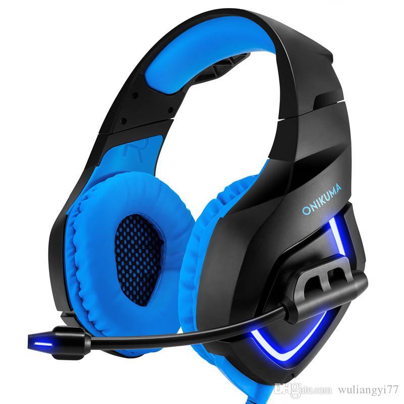 PS4 PC için Stereo Gaming Headset Laptop Mic LED Işık Bass Surround Yumuşak Hafıza Earmuffs ile Gürültü Önleyici Üzeri Kulak Kulaklıklar