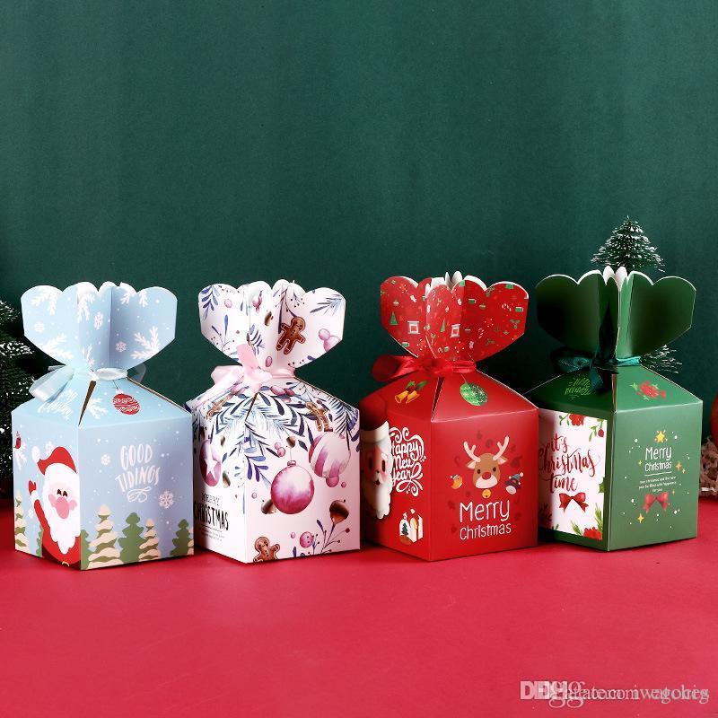caja de embalaje de frutas festival de bricolaje caja de dulces de Navidad creativo pingan caja de papel de chocolate de la Navidad del papel de regalo el envío libre
