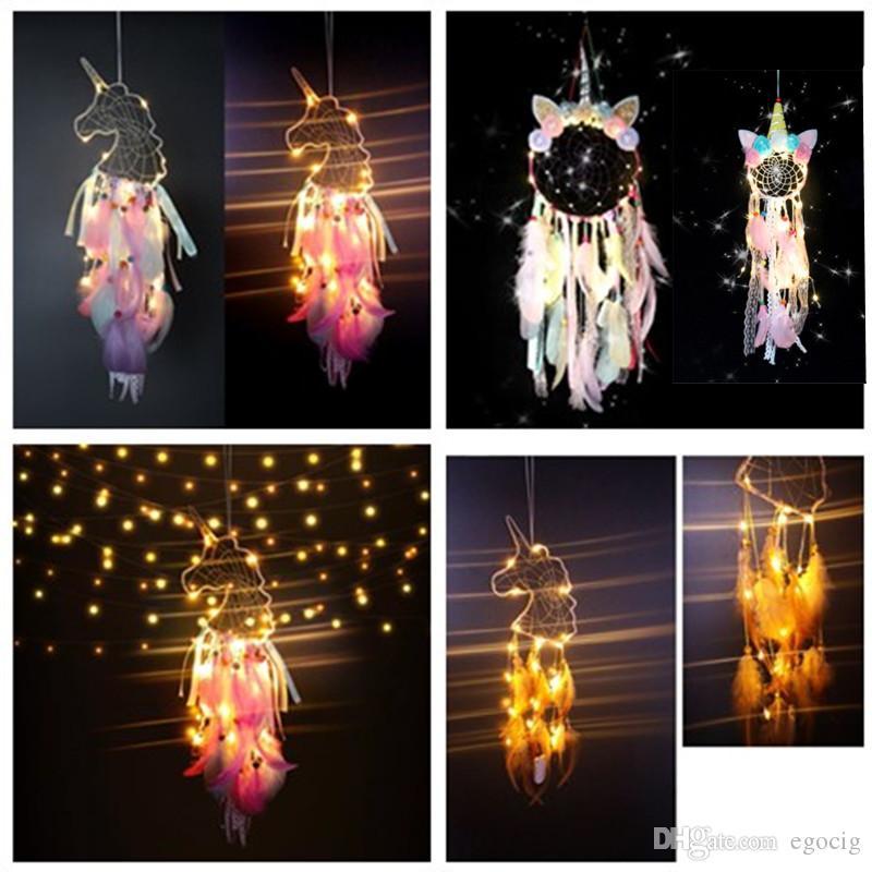 LED Wind Chimes Unicorn Handmade Dreamcatcher Feather Pendant Dream Catcher Creative Hanging Craft Wish Gift Home Decoration