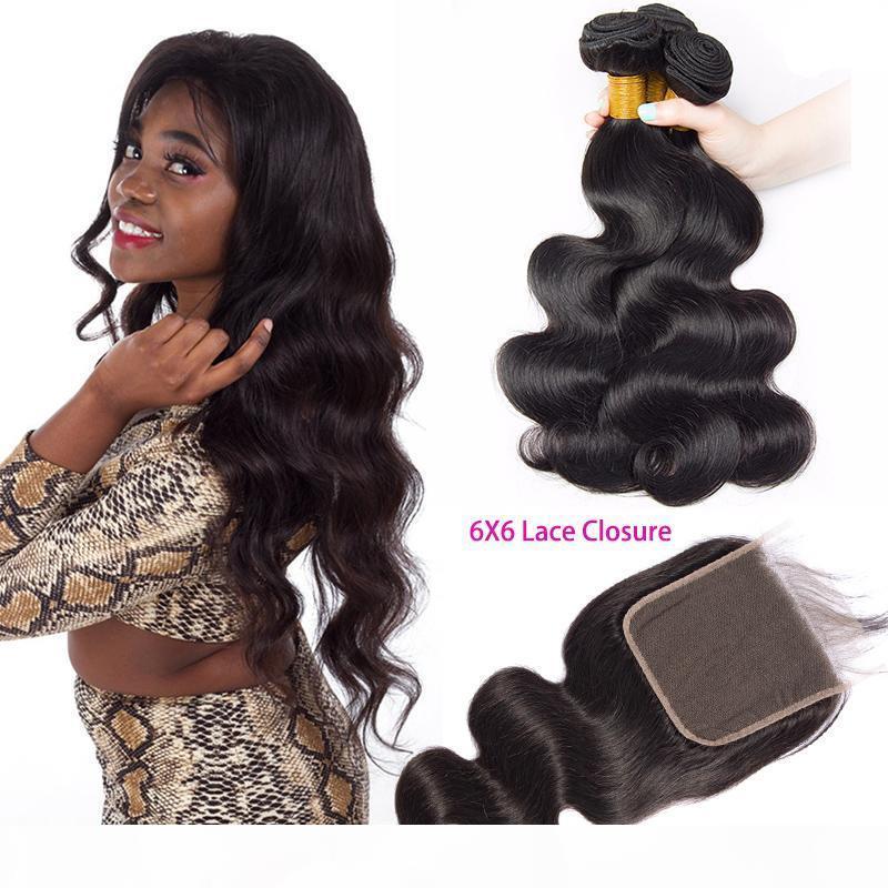 El cierre de encaje humano indio de paquetes de pelo Con 6X6 Medio Tres parte libre onda del cuerpo de las tramas del pelo con 6 * 6 Cierre de colores naturales de la onda del cuerpo