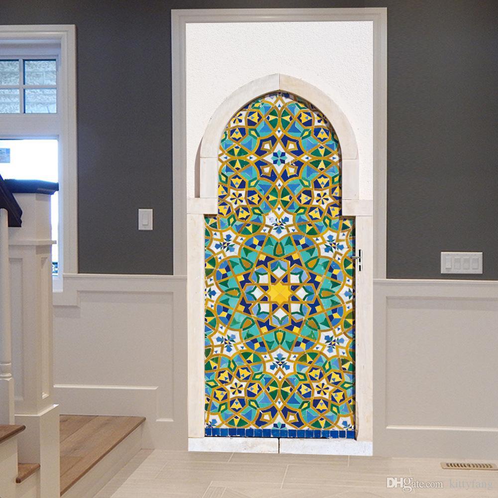2Pcs/Set New DIY Mosaic Colorful Door Stickers Wallpaper Wall Sticker Adhesive Waterproof PVC Poster Living Room Bedroom Home Decor