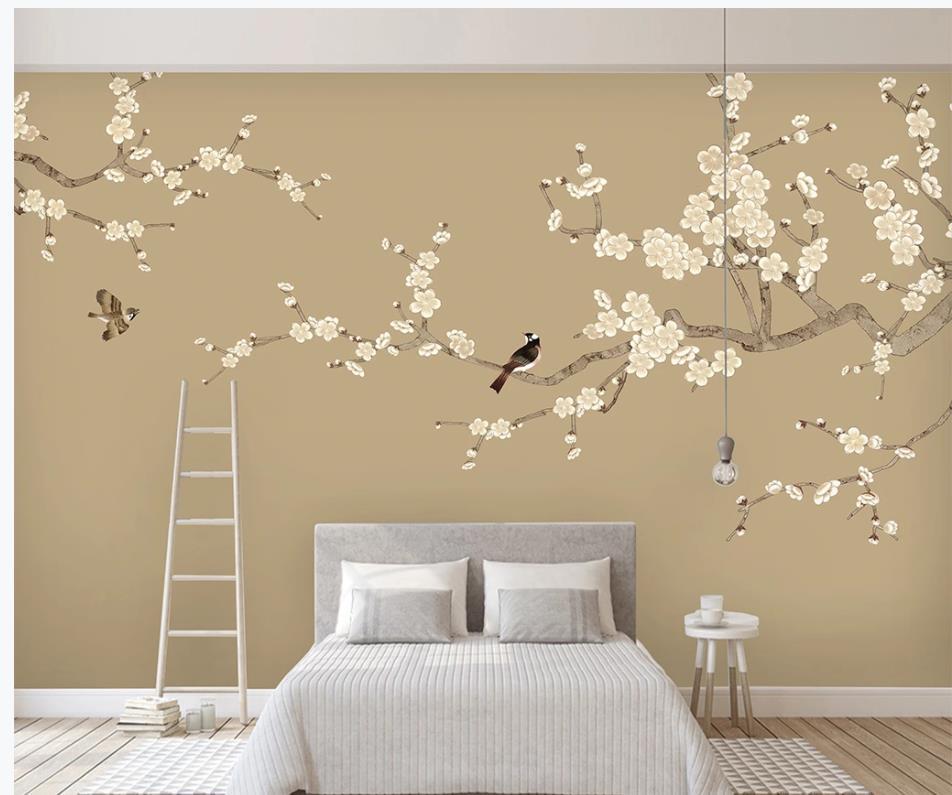 3D Wandbilder Tapete Raum New chinesische Art handgemalte Blume Vogel Pflaume Fernsehhintergrundwand für das Leben