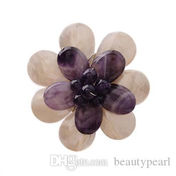 Amethyst Natural Stone and Genuine Mother of Pearl White Shell Handmade Jewelry Flower Brooch 5 Pieces