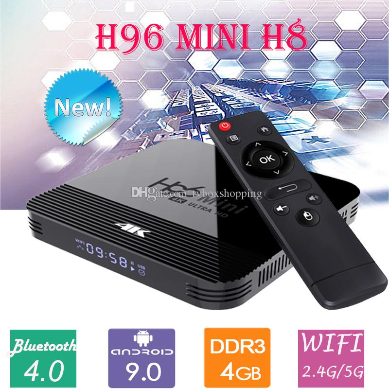 H96 Mini H8 2GB / 16GB Android 9.0 OTT TV BOX RK3228A Dört Çekirdekli Çift WiFi 2G + 5G BT4.0 Set Top Box TX3