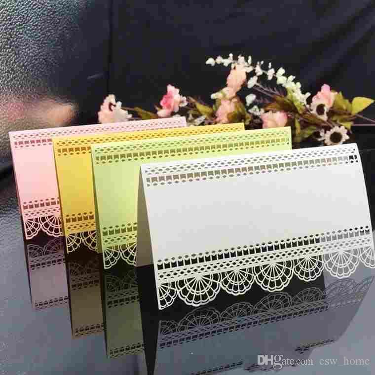 레이스 레이저 커팅 테이블 카드 장소 카드 이름 좌석 카드 결혼식 파티 테이블 장식 웨딩 환경 설정