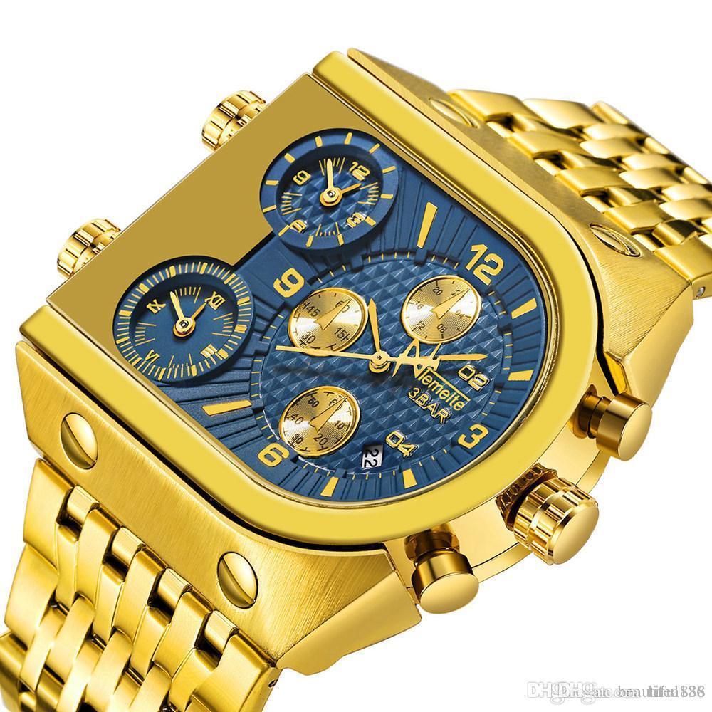 Relogio Top-Marke TEMEITE Große Quarz Uhren Männer Military Wasserdichte Geschäfts Armbanduhr Luxus Gold Blau Stahl Uhr Masculino