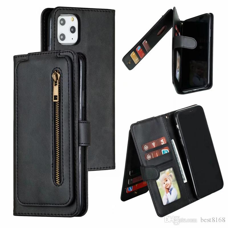 Pacchetto multifunzionale della cassa del raccoglitore per Samsung Nota 10 S10 A10 A10S A20S A20E A40 A50 A70 in pelle verticale Zipper 9 carte Pocket ID Holder copertina