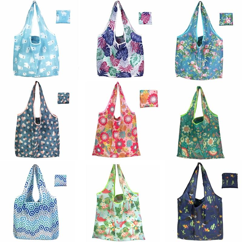 Large Foldable Shopping Bag Polyester Printted Reusable ECO Friendly Shoulder Bag Folding Pouch Storage Bags HHA635