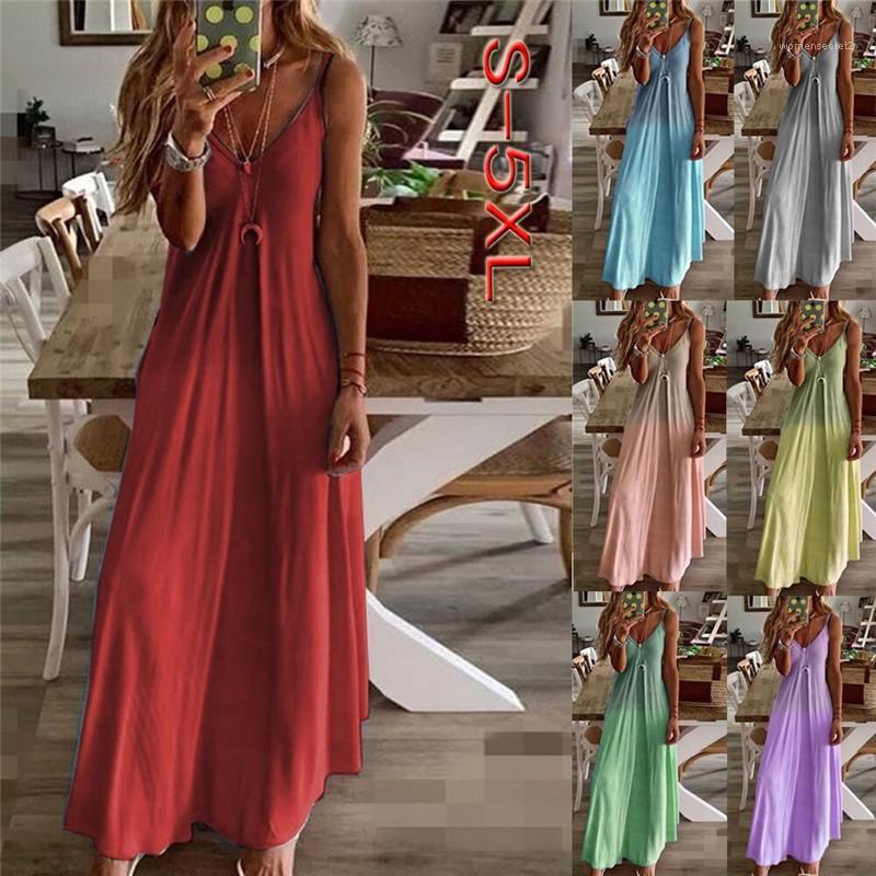 Повседневная одежда Famale Дизайнер платья женщин Gradient печати Длинные платья лета Sexy Sling шеи V Slim Fit