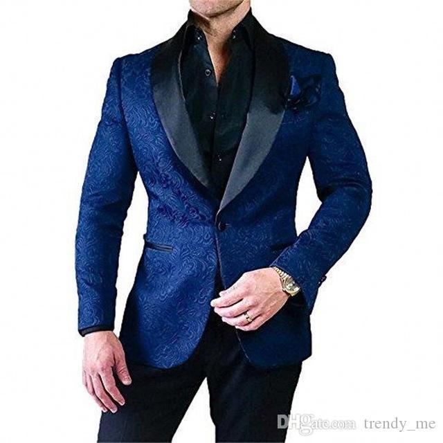 Elegantes trajes de boda Azul marino Jacquard para los hombres formal esmoquin novio Negro Mantón partido de cena de la solapa de la chaqueta Prom Terno Masculino