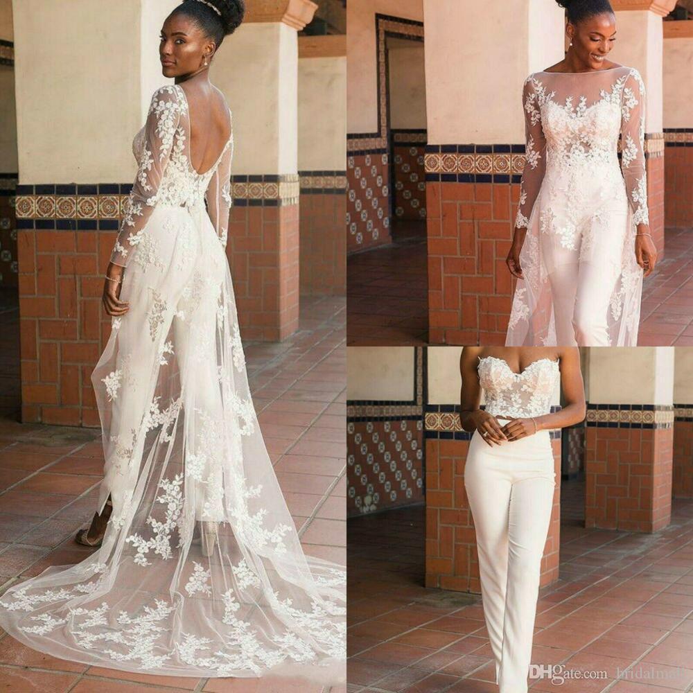 Lace apliques Jumpsuit casamento com filme Train 2020 Africano nigeriano Plus Size vestidos de noiva Jardim vestido de casamento férias Robe De Mariee