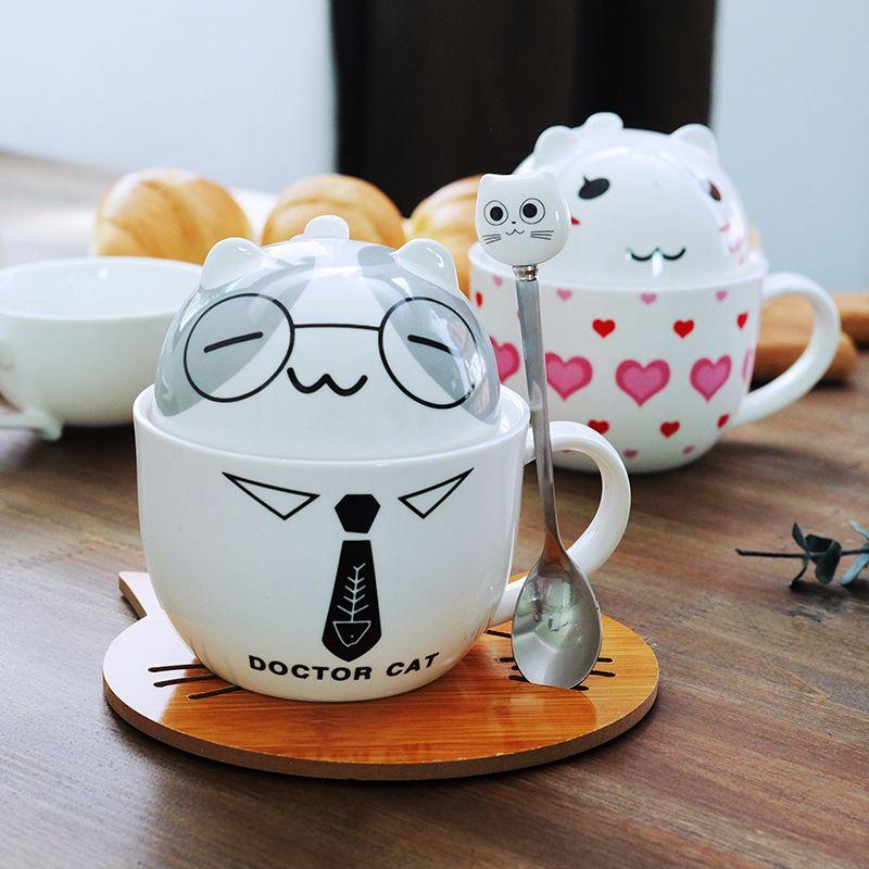 Чашка кофе Белый Доктор Кошка Животное Молоко Чашка Керамическая Кружка Любителей Милый подарок на День Рождения, Рождественский Подарок