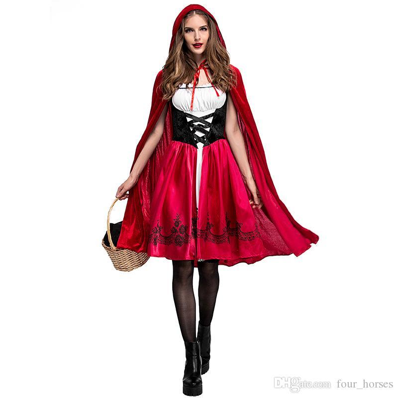 Kadınlar Prenses Lüks Tasarımcı Bayan Cosplay Ücretsiz Nakliye Sıcak Anime Kırmızı Başlıklı Kız Cosplay Karnavalı Cadılar Bayramı Kostüm