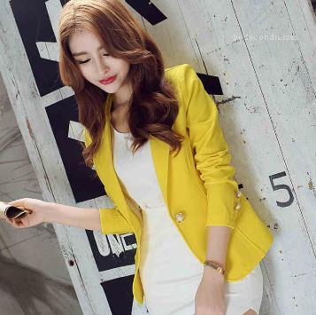 Prendas de vestir exteriores OL delgado traje chaqueta de la capa Moda sólido de manga larga botón de la chaqueta de las mujeres del resorte del trabajo
